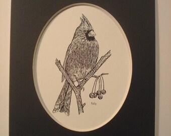 """Cardinal Print - 5"""" x 7"""" black mat"""