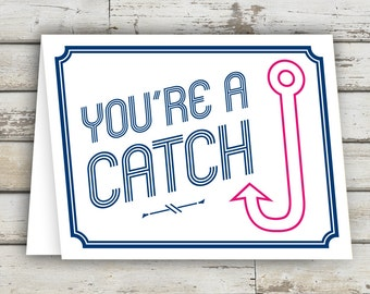 You're a Catch, Greeting Card, Hook, Preppy Card, Fish Hook, Valentines Card, Valentines Day Card, Card for Boyfriend, Card for Girlfriend
