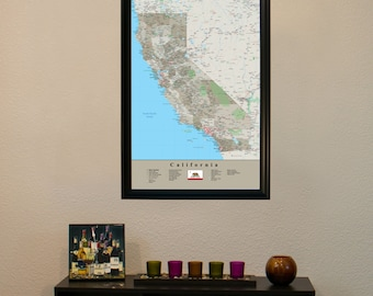 """California Earth Toned Push Pin Travel Map with Pins and Frame 24"""" x 36"""" - Push Pin Travel Map"""