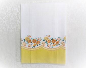 Vintage Pillowcase Border Print Pillow Case Cotton Fabric Yellow Orange Petunias Floral Unused 1950's Vintage Bed Linens
