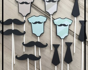 Baby Shower Cupcake Toppers, Baby Boy Shower Decorations, Mustache Baby Shower, Little Man Baby Shower Decorations, Baby Boy Cupcake Toppers