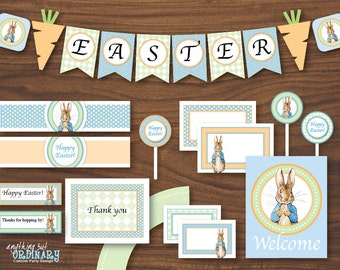 Peter Rabbit Easter Decorations, INSTANT DOWNLOAD, DIY Printable Party Package with blue background, digital file