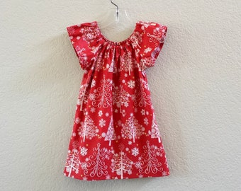 New! Little Girls Red Christmas Dress - Red & Cream with Christmas Trees - Girls Flutter Sleeve Dress - Size 12m, 18m 2T, 3T, 4, 5, 6 or 8
