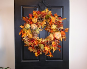 fall wreath 30'' Thanksgiving wreaths for front door wreaths autumn wreaths fall outdoor wreaths, gift ideas
