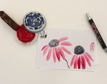 Blank Cards, Pack of 5 with Envelopes, Echinacea and Bee, Any Occasion, Sumi-e, Chinese Watercolor, Print