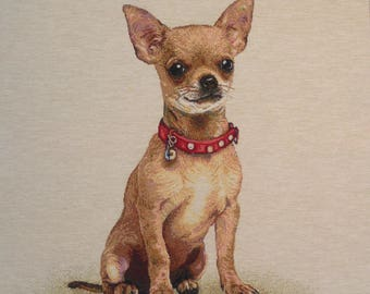 CHIHUAHUA necklace red tapestry panel fabric coupon