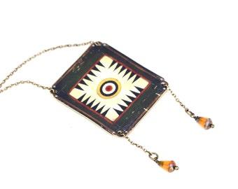Green Vintage Game Board Slide Necklace Bolo Tie Bolo Choker Western Jewelry Green Jewelry Shrink Plastic Bolo Tribal Jewelry Ethnic Jewelry