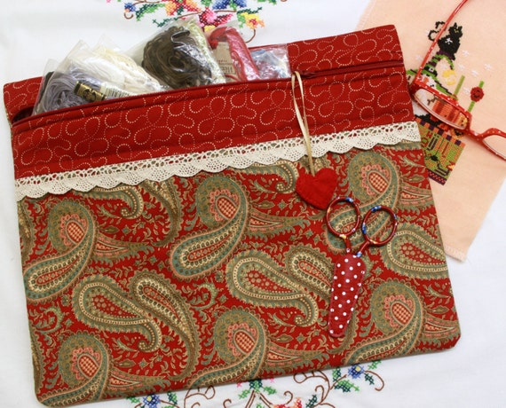 Deep Red Paisley Cross Stitch Project Bag