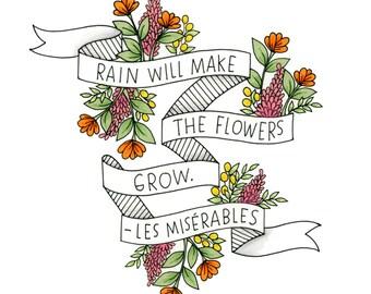 5x7 Les Mis print // Floral Print // Hand-drawn floral print // Les Miserables print