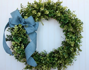 Boxwood Wreath, Front Door Wreath, Farmhouse Decor, Outdoor Wreath, Faux Boxwood Wreath, Green Wreath, Everyday Wreath, Elizabeth and Co