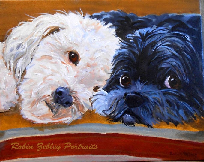 Wirehaired Pointing Griffon Pet Portrait Painting by Robin Zebley, Oil Painting on Canvas