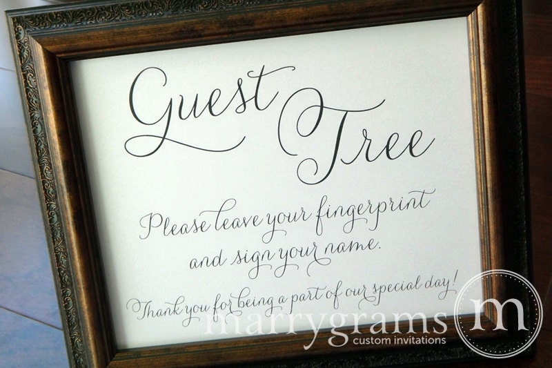 Alternative guest book table sign fingerprint guest tree zoom sciox Gallery
