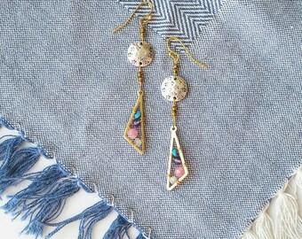Tiny Gemstone Mixed Metal Earrings