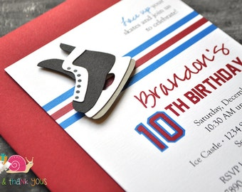 Hockey Birthday Party Invitations · A6 FLAT · Red White and Blue · Team USA   NHL Jersey Inspired   Skate Party