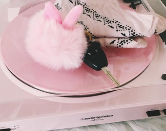 Pom Pom Bunny key chain ( Your choice of pink, blue, mint, or white)