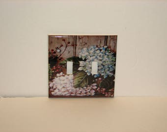 Hydrangea Double Switch plate light Cover Flower Floral