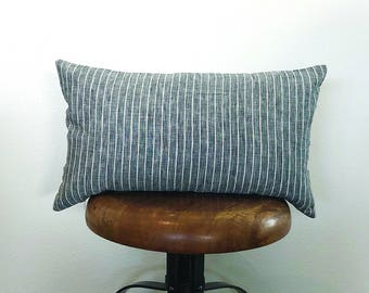 12 x 20 Black Pinstriped Linen Lumbar Pillow
