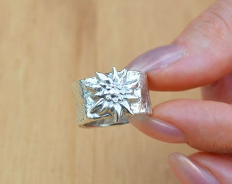 ring silver sterling 925 in rustic traditional edelweiss design