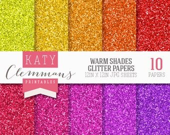 WARM GLITTER digital paper pack. Colourful metallic glitter textures . Scrapbook printable sheets - instant download.
