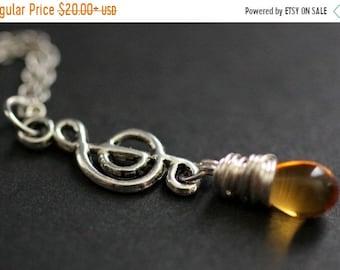 SUMMER SALE Music Necklace. Treble Clef Necklace. Amber Teardrop Necklace. Musical Note Necklace in Silver. Handmade Jewellery.