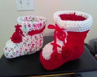 Hand crochet Christmas boot decoration.  Display floral arrangements or fill with candy, etc.