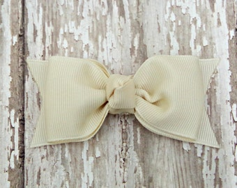 Ivory Tuxedo Style Toddler Hair Bow 3 Inch Alligator Clip Baby Hairbow Ivory Baby Bow Ivory Toddler Bow