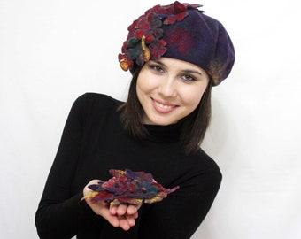 "Set ""Glee"" -  beret the brooch .eco, natural, woolen, felt.Love, fashion, Beautiful, Gift, Handmade.Beret, Headdress, Accessory.felted beret"