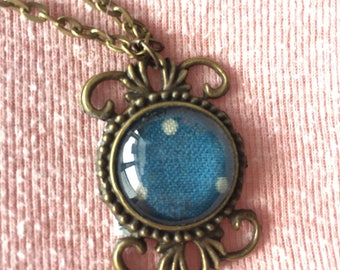Blue & White Polka Dot Necklace