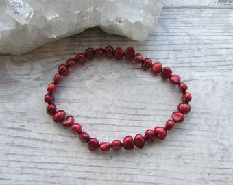 Red Freshwater Pearl Bracelet - Stretchy Bracelet - Natural Pearl Jewellery - Elasticated Pearls #13