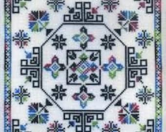 Lightning Ridge, Modern Geometric Counted Cross Stitch design using variegated thread.  Charted for Dinky Dyes silk.  Geometric Motifs.