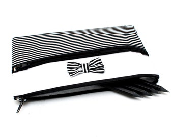 Cute Striped Pencil Case/ Makeup Bag 19cm x 11.5cm With Two Zippers and Bow