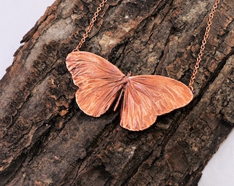 Electroformed Real Butterfly Copper Necklace N17