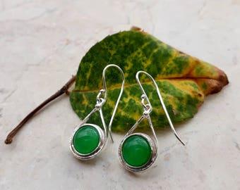 Sterling Silver Earrings, Natural Jade Earrings, Green Earrings, Small Dangle Earrings, Silver Drop Earrings, Israeli Jewelry, Gift