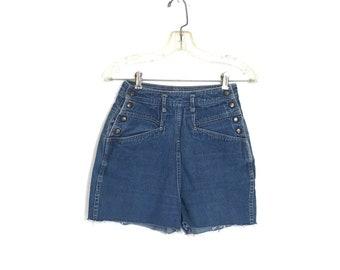 Vintage 80's Shorts Cut Off Shorts Medium Denim Shorts 80's High Waist Shorts Festival Clothing W