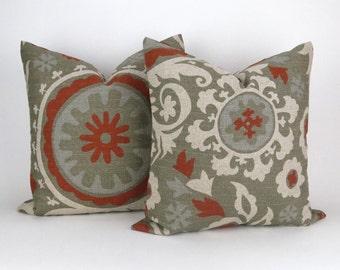 Set of two Decorator Pillow Covers, Euro Shams, Rust Orange, Beige -MANY SIZES- Rustic Burlap Barkcloth Suzani Denton PremierPrints FREESHIP