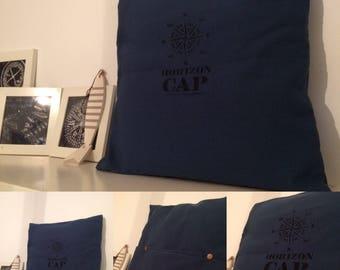 Pillow cover cotton teal linen