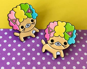 Afro Cat Bright Rainbow Enamel Pin