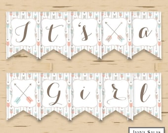 Tribal Arrows It's A Girl Baby Shower Banner Party Printables DIY Printable INSTANT DOWNLOAD Pdf TR001