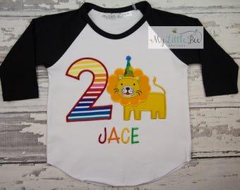 Lion Birthday raglan Shirt- Birthday Shirt - Jungle - Zoo - Circus - Animals-Boys Birthday Shirt -personalized shirt-rainbow themed-any age