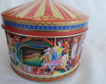 Vintage Circus Carousel Metal Can