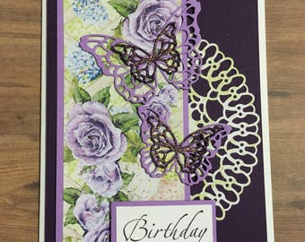 Greeting card, Handmade card, all occasion card, birthday card, floral design, butterfly