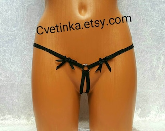 EXTREME MICRO BIKINI Open Crotch Thong Crotchless Thongs Black Thongs Strappy Lingerie Sexy Extreme Micro Thong Open back panties