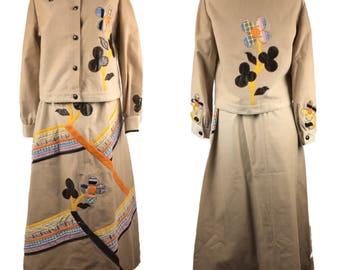 Wenjilli Vintage ombre women 2 piece cotton suit maxi skirt blazer floral Embroidered Patchwork rare 13/14