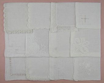 Vintage Hanky Lot One Dozen White Wedding Vintage Hankies Handkerchiefs  (Lot #101)