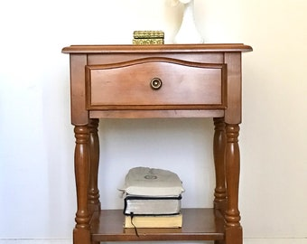 Vintage Night Table. Nightstand with Drawer and Shelf. Vintage End Table