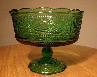 Compote, Mid-Century E.O. BRODY, Emerald Green, Pressed Glass Compote, Comport, Centerpiece, Pedestal Bowl, Footed Candy Dish