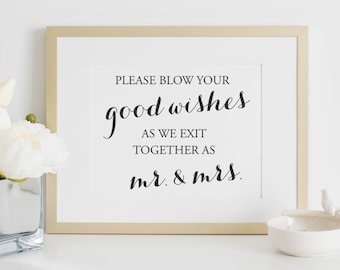 Wedding Sign - Bubble Sign - Wedding Bubble Sign - Wedding Signs - Blow Bubbles - Wedding Bubbles - 8 x 10 - Bubble Send Off