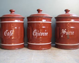 3 vintage French canisters, enamel canisters, kitchen storage, kitchen decor, brown, white, cafe, chicoree, sucre