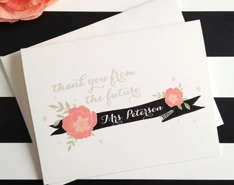 Floral Future Mrs. Thank you Cards for the bride to be - customize to match your wedding colors and as always, FREE US shipping