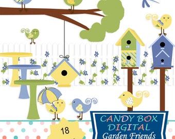 Summer Garden Clipart, Bird and Birdhouse Clip Art - Commercial Use OK